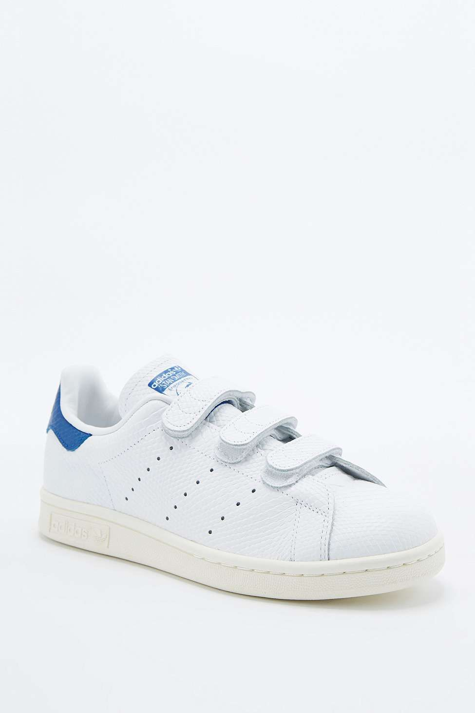 new arrival 1681d 7bcb2 adidas Originals Stan Smith White   Blue Velcro Trainers