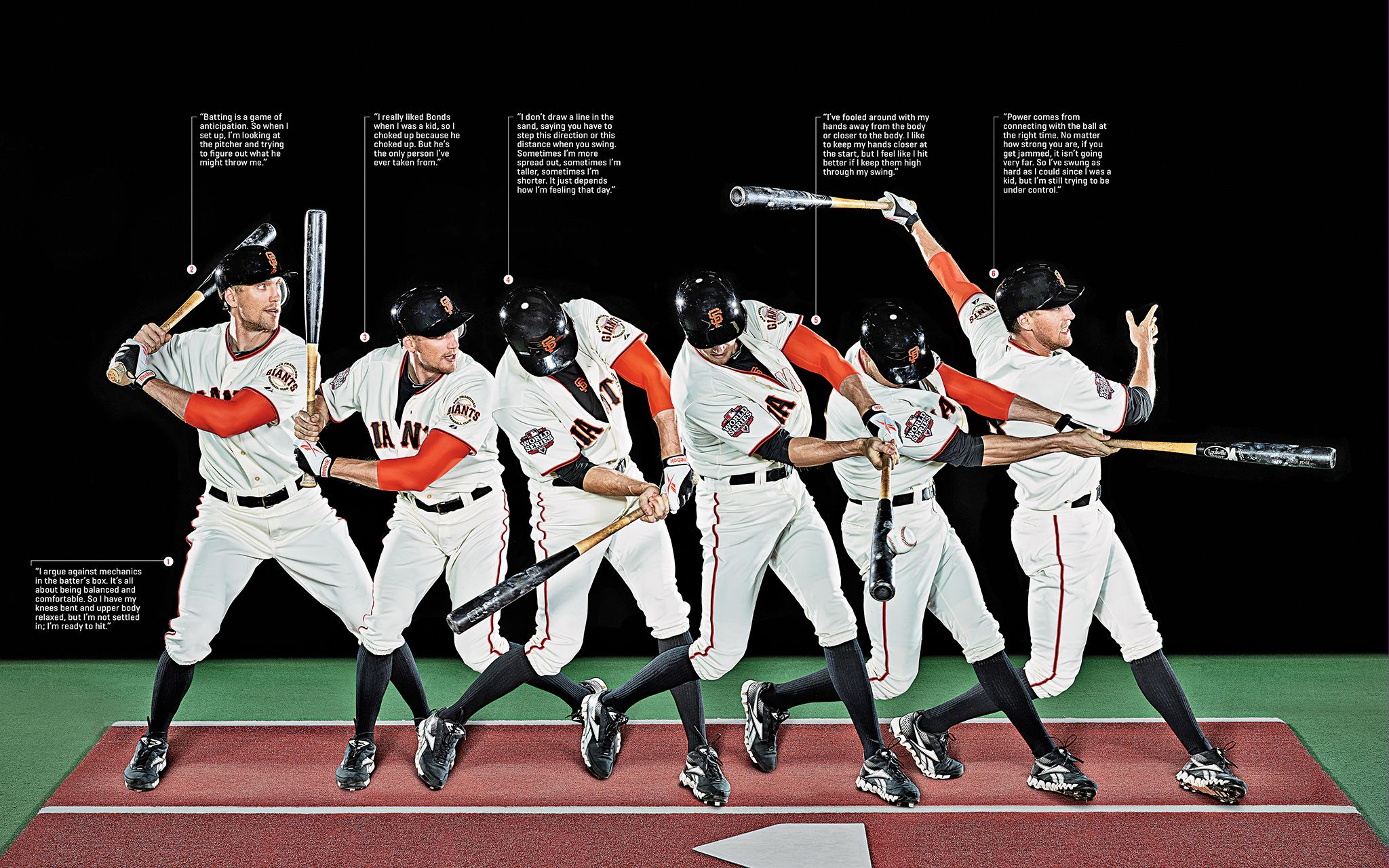A Sequence Photo Of Hunter Pence For Espn Magazine S Perfect Issue On His Unorthodox Batting S Sf Giants Baseball Sf Giants San Francisco Giants Baseball