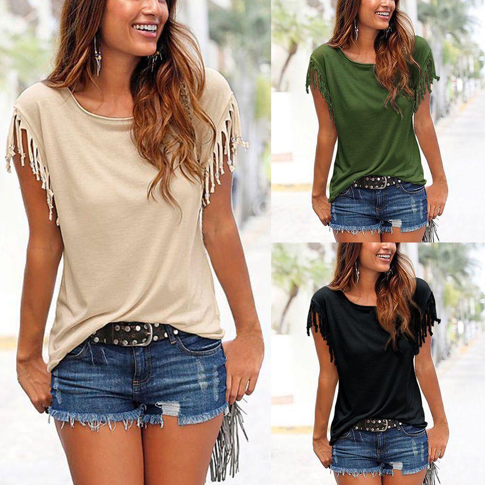 54f13217388f Women's Tassels Short Sleeve Loose T-Shirt Ladies Summer Casual Tops Blouse