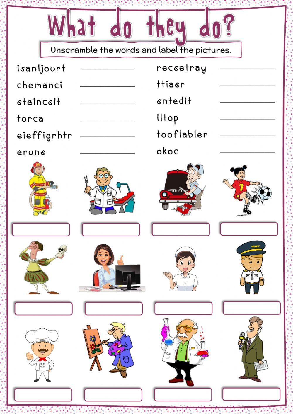 Jobs What Do They Do Worksheet In 2020 English As A Second Language English As A Second Language Esl Words