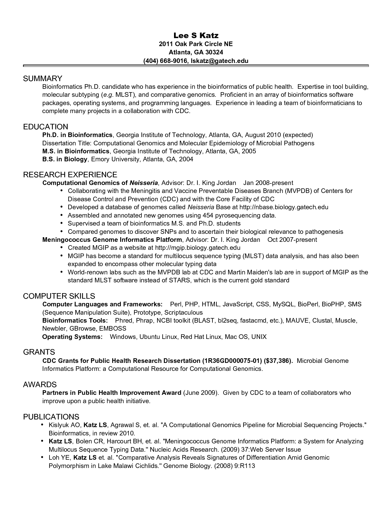 academic cv for phd application example