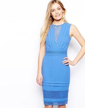 6893ec2eff9 Warehouse Crochet Lace Pencil Dress