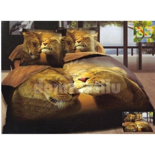 7c842fbb4 Posteľné obliečky tmavohnedej farby s motívom levov | Posteľné ...