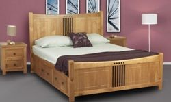hudson oak finish bed frame