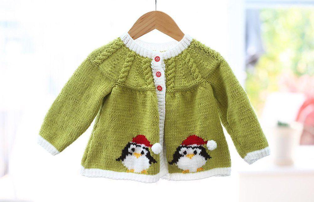 Christmas Knitting Patterns For Babies.Christmas Penguin Jacket Cardigan Baby Knitting Patterns
