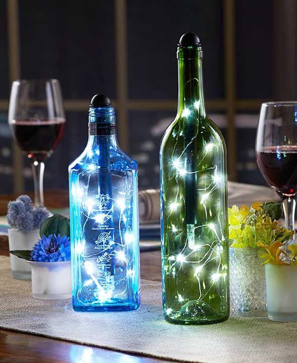 Liquor Bottle Centerpieces: Lighted Wine Bottles, Bottle Lights