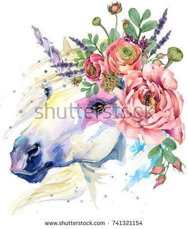 unicorn. watercolor flower bouquet illustration. fantasy background. white horse.