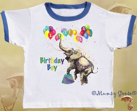Birthday Tshirt Circus Elephant Boy Shirt by Mumsy by MumsyGoose, $14.95
