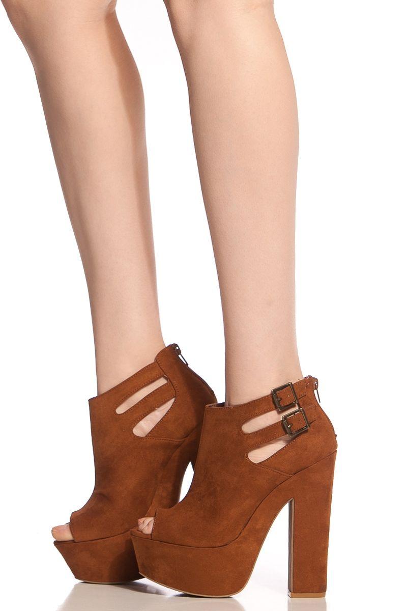c564a8735f34 Cognac Faux Suede Peep Toe Chunky Platform Heels   Cicihot Heel Shoes online  store sales Stiletto Heel Shoes