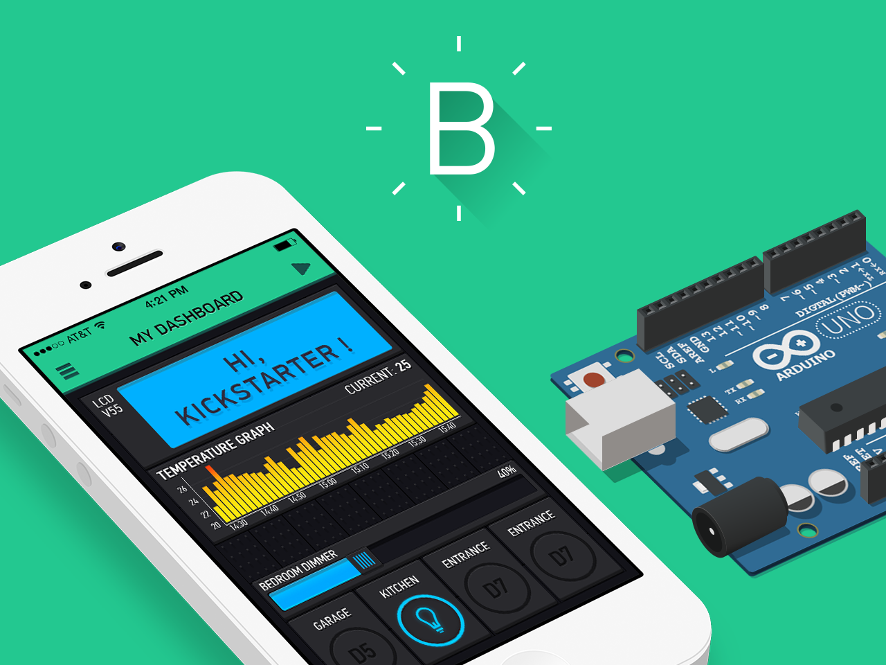 Blynk is a platform with ios and android apps to control