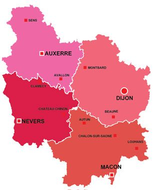 Map Of The Major Towns And Cites In Burgundy France Travel France