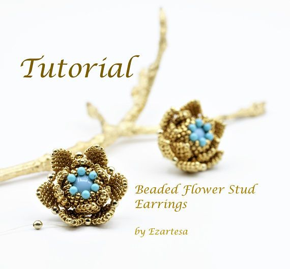 Beaded Flower Stud Earrings Tutorial With Turquoise Beads And Gold