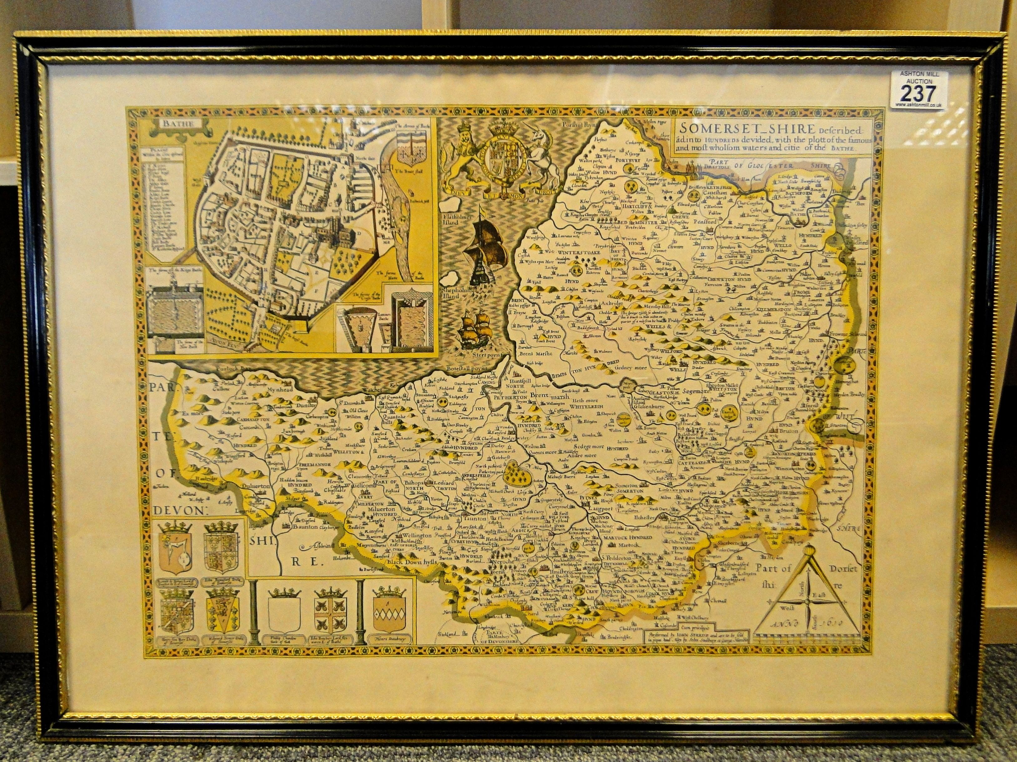 237 after john speede large framed coloured antique map of 237 after john speede large framed coloured antique map of somersetshire with inset plan publicscrutiny Image collections