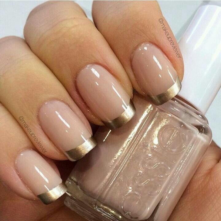 French nails - Nude W Gold French Manicure... Nails Pinterest Manicure