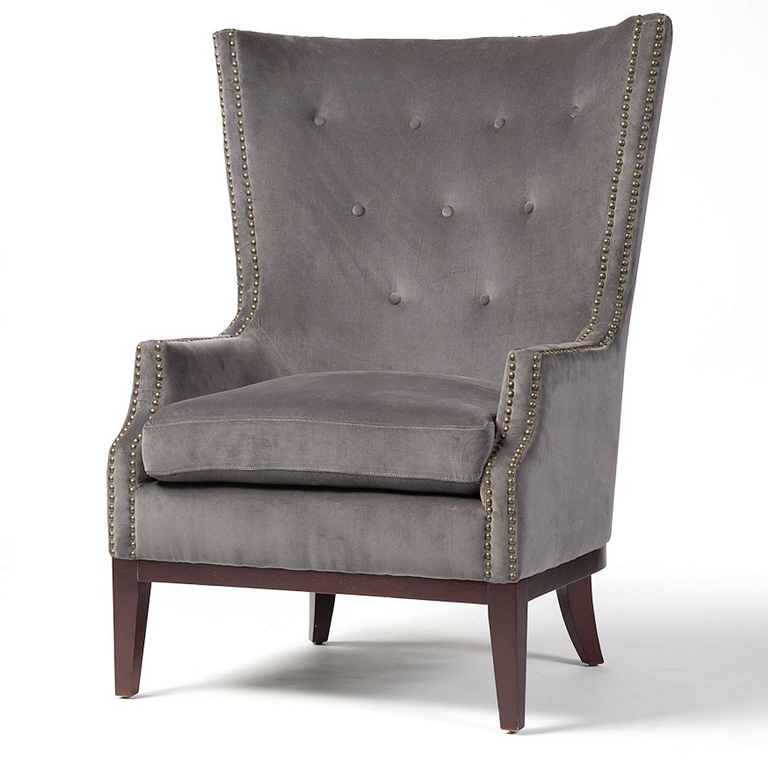 Accent Wingback Chairs Lillian Grey Velvet Wingback Chair Wingback Chairs Living Rooms