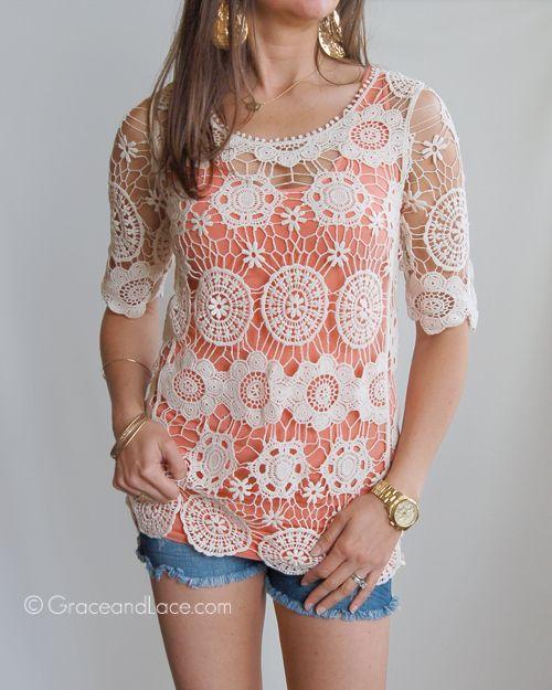 Grace and Lace - Crochet Lace Tunic, $45.00 (http://www.graceandlace.com/all/crochet-lace-tunic/)