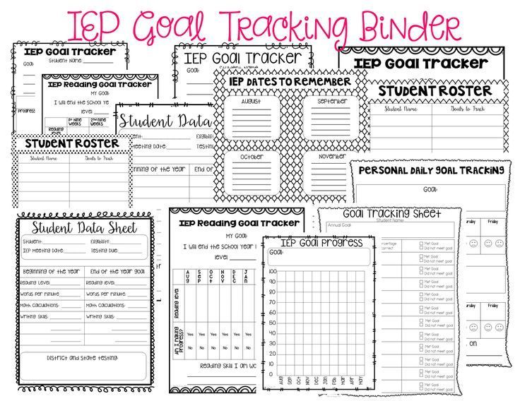 Iep Goal Tracking Binder  Student Goals Binder And Special Education