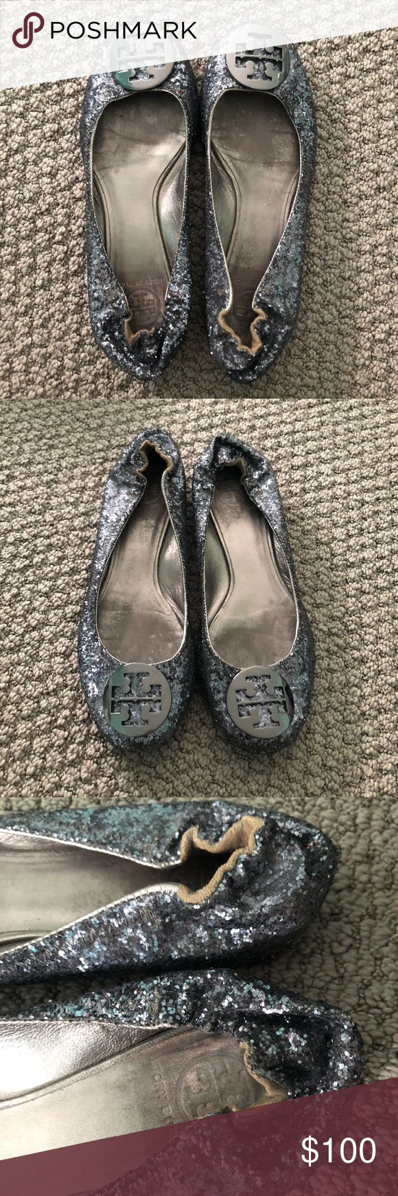 99c5477b03fd Tory Burch Reva Glitter Flat Gently used condition Tory Burch Reva Flats.  Size 8.