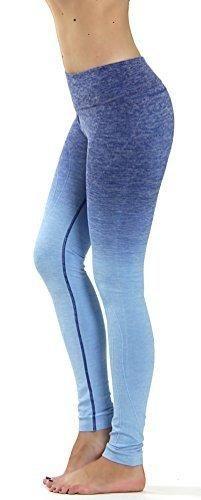 Prolific Health Fitness Power Flex Yoga Pants Leggings - All Colors - XS - XL (Large Ombre Dark Blue)