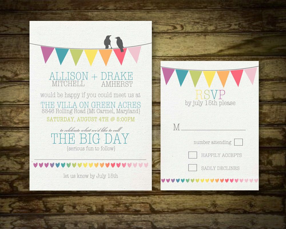 a colorful wedding  crows rainbows and flags, invitation samples