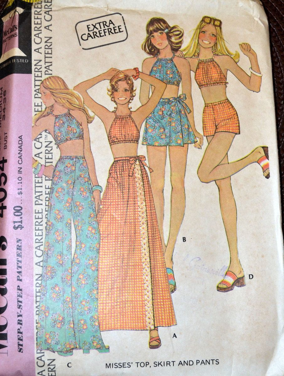 Vintage Sewing Pattern McCall's 4054 Misses' Halter Top, Maxi Skirt, Pants, and Shorts Bust 34-36 inches  Complete by GoofingOffSewing on Etsy $10