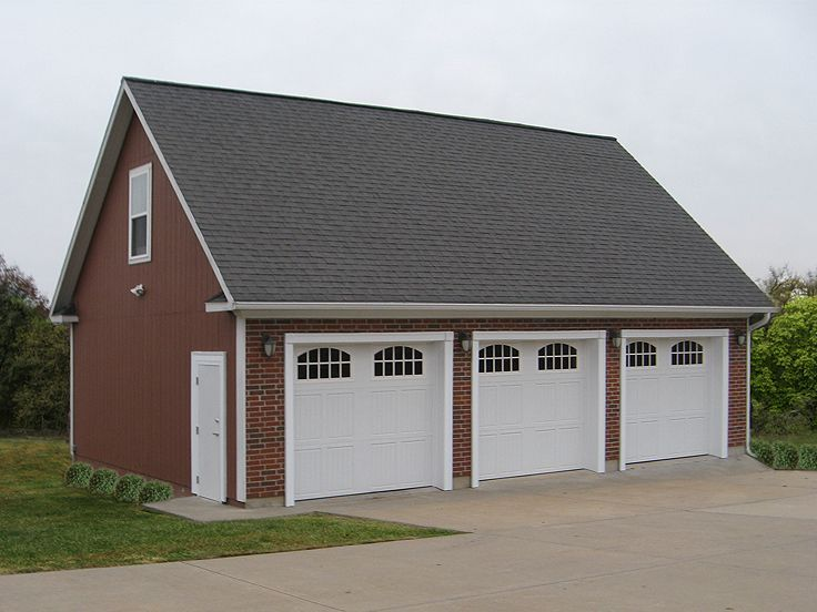 009g 0011 three car garage plan with loft 3 car garage for Three car detached garage plans