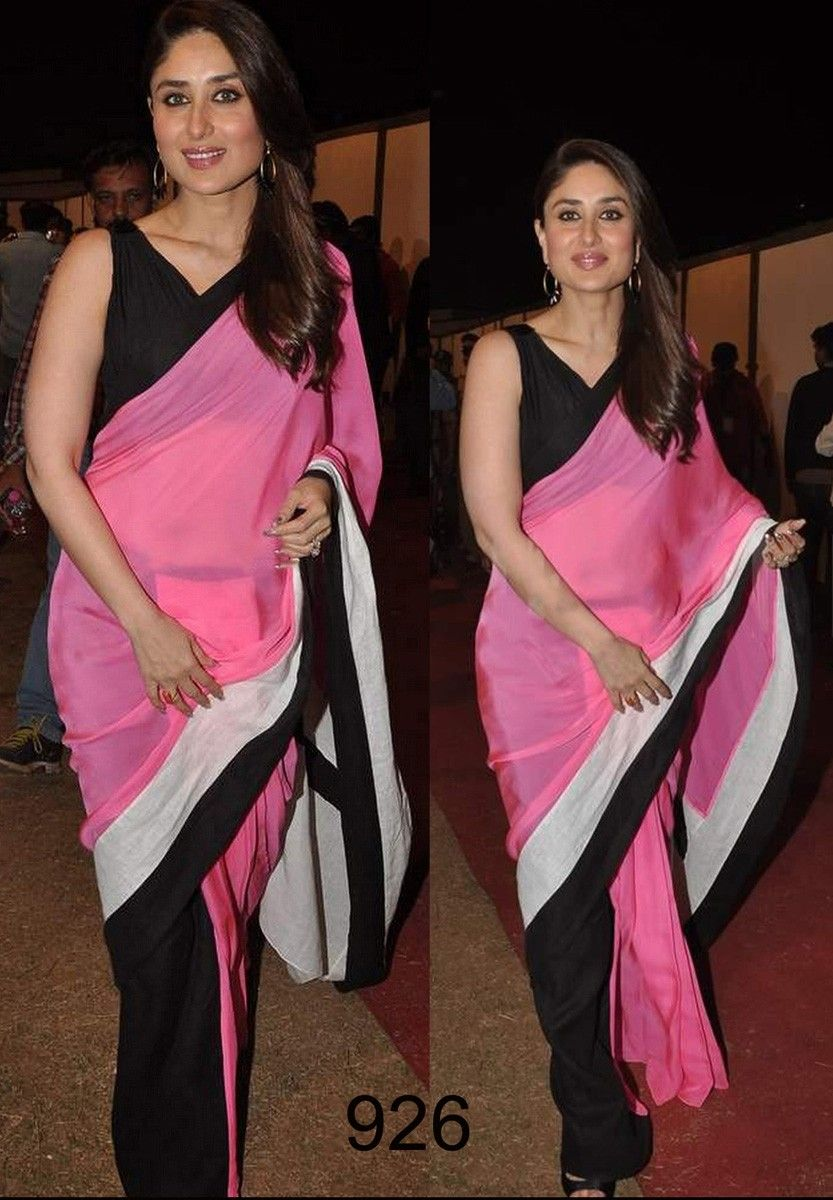 Kareena Kapoor Georgette Pink & Black Plain Bollywood Style Saree - 926