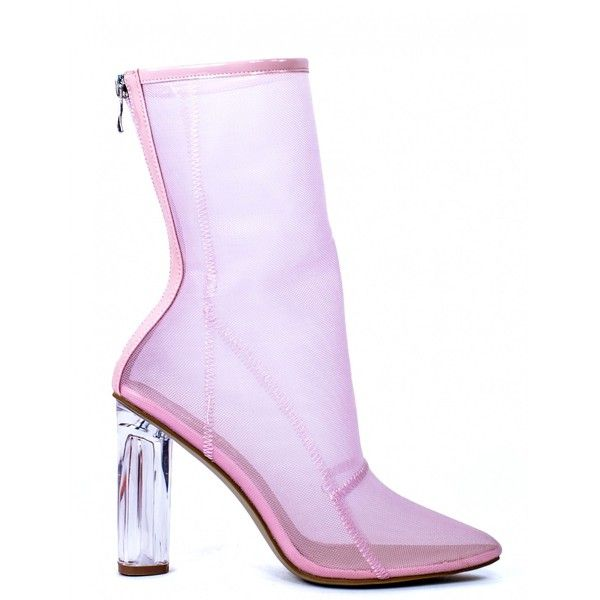 690fb57f01e HEARTLESS PINK MESH ANKLE BOOTS WITH PERSPEX HEEL (280 CNY) ❤ liked on  Polyvore