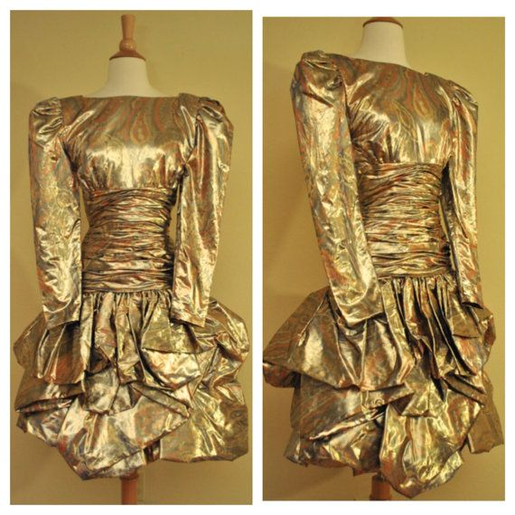 4e0100d7ec05 80s Prom Dress in Gold Metallic with Puff Sleeves Ruffled Skirt Above the  Knee by Lawrence Size Small 1980s Vintage Party Dress