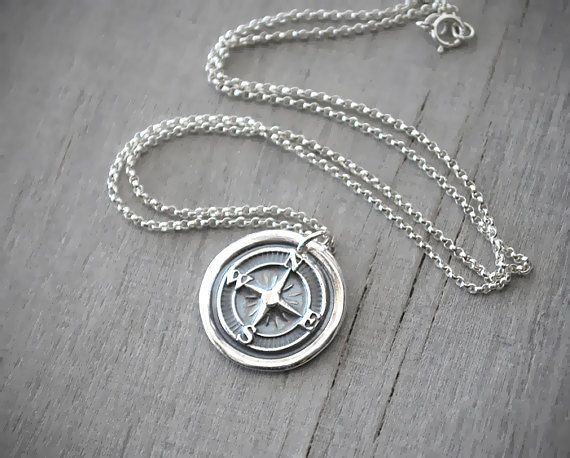 Wax seal silver compass rose necklace compass necklace fine wax seal silver compass rose necklace compass necklace fine silver compass pendant handcrafted artisan jewelry aloadofball Choice Image