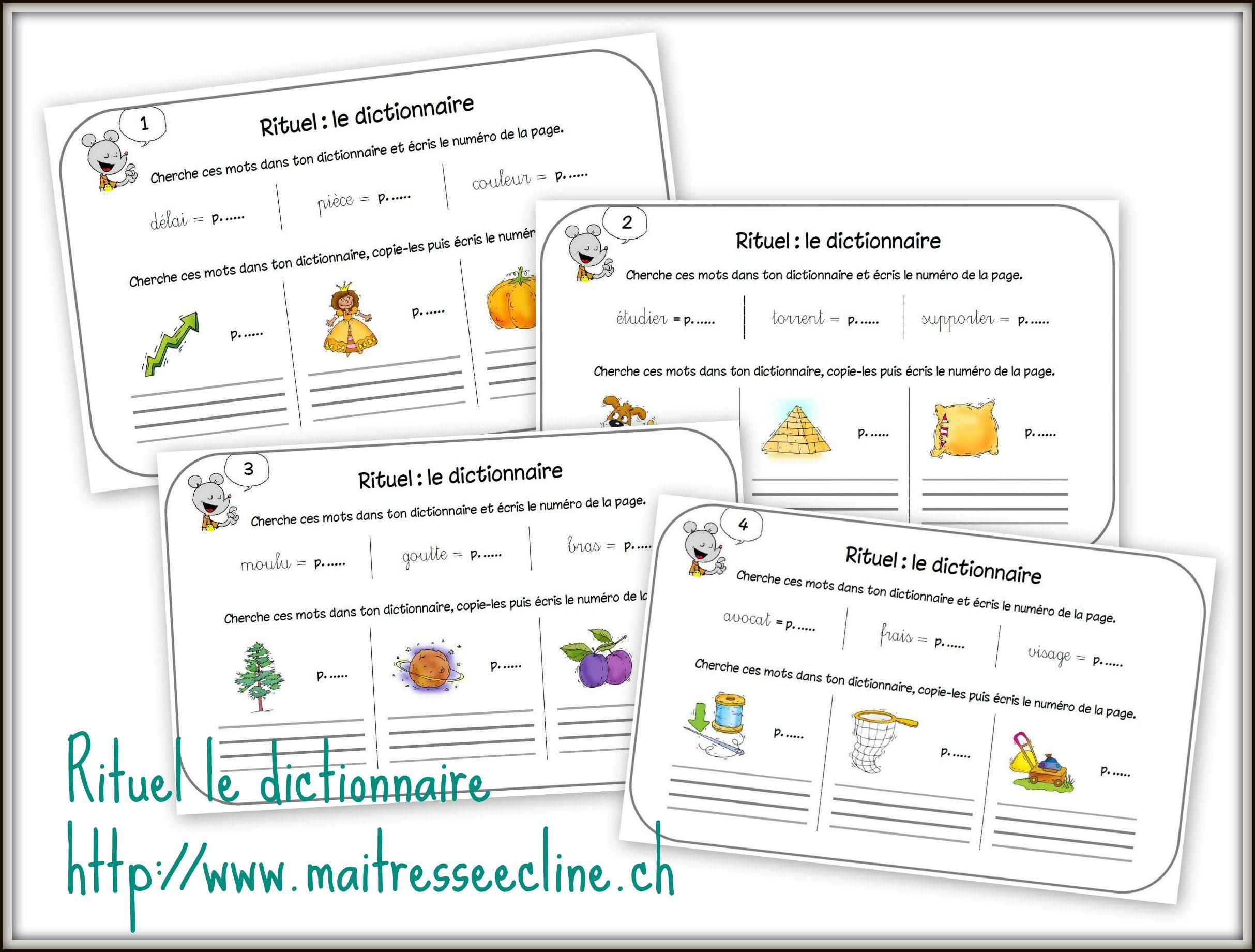 Rituel Recherche Dans Le Dictionnaire Pour Les 4e Harmos Dictionnaire Rituels Ce1 Familles De Mots