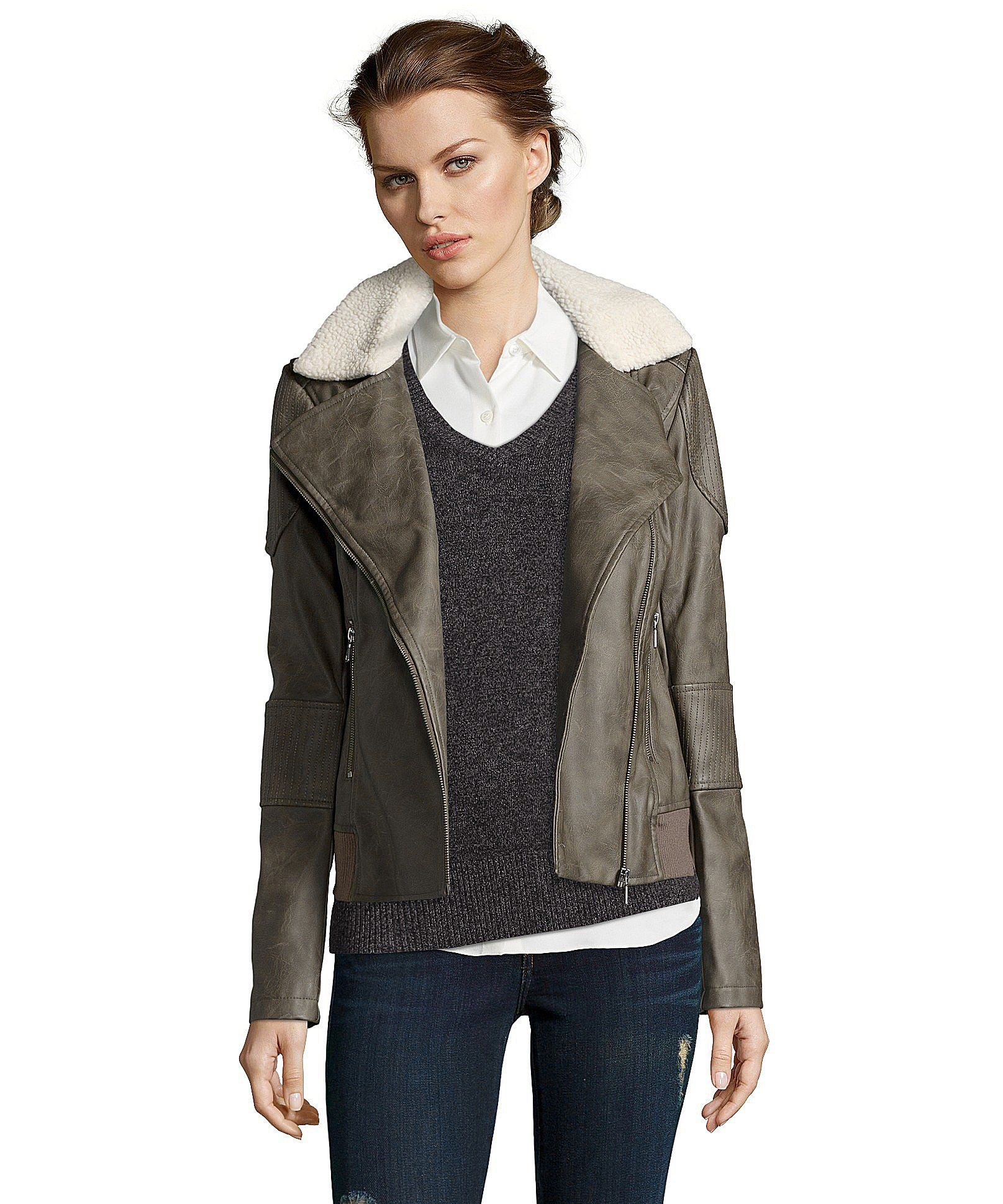 Sam Edelman grey faux leather sherpa collar motorcycle