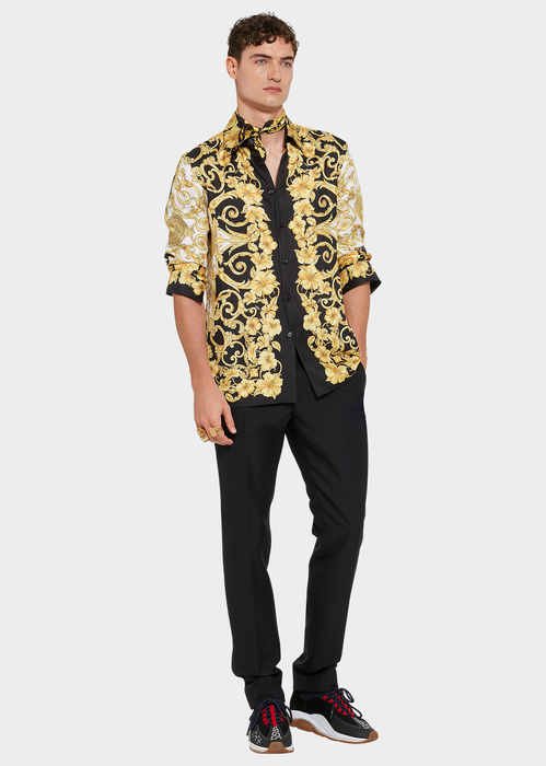 c2f9673c Gold Hibiscus Print Silk Shirt for Men | US Online Store | ดีไซน์ ...