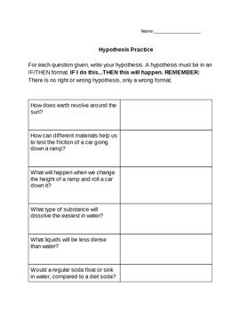 Hypothesis Writing Practice