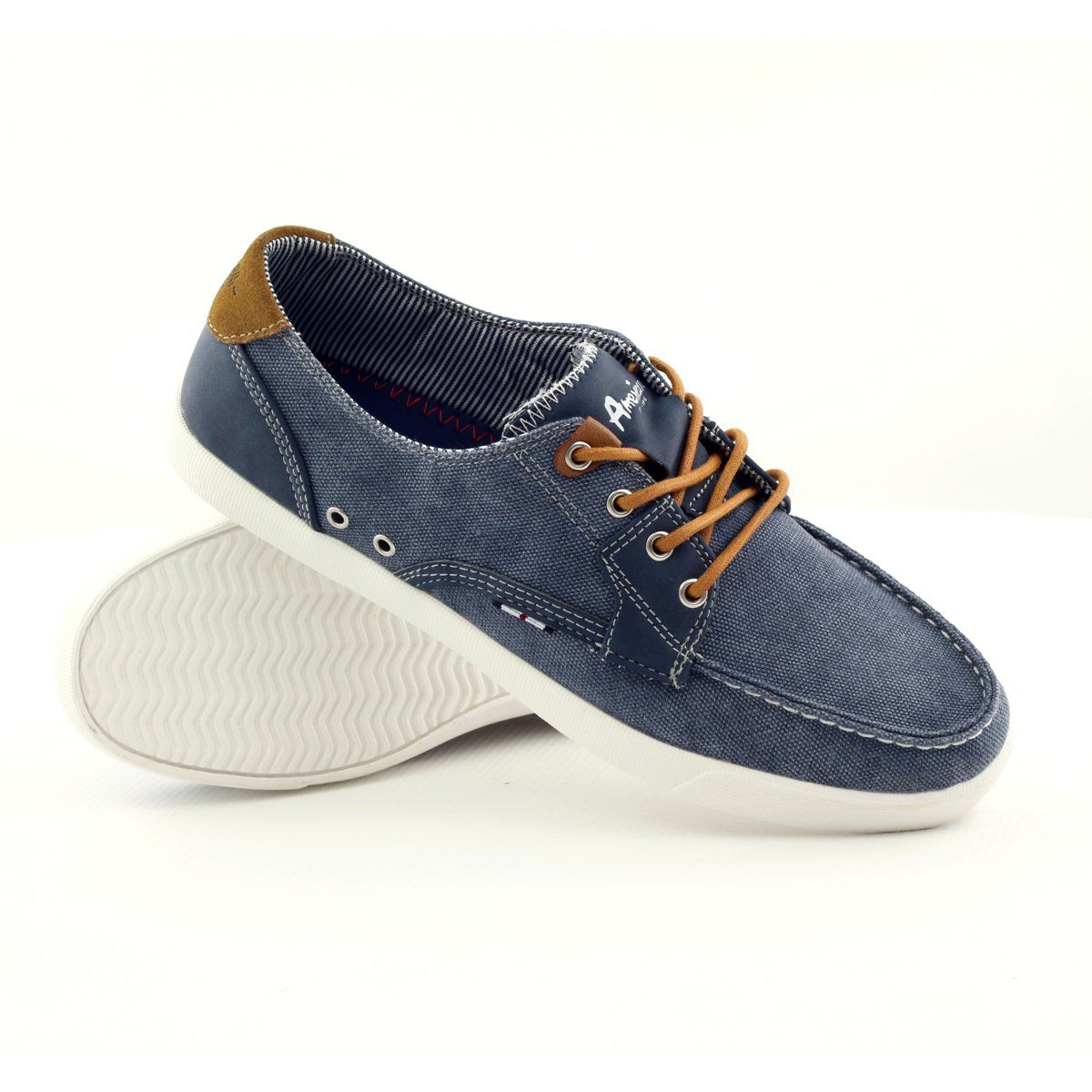 American Club American 205081 Men S Textile Tied Loafers Navy Blue Navy Heels Club Shoes Loafers