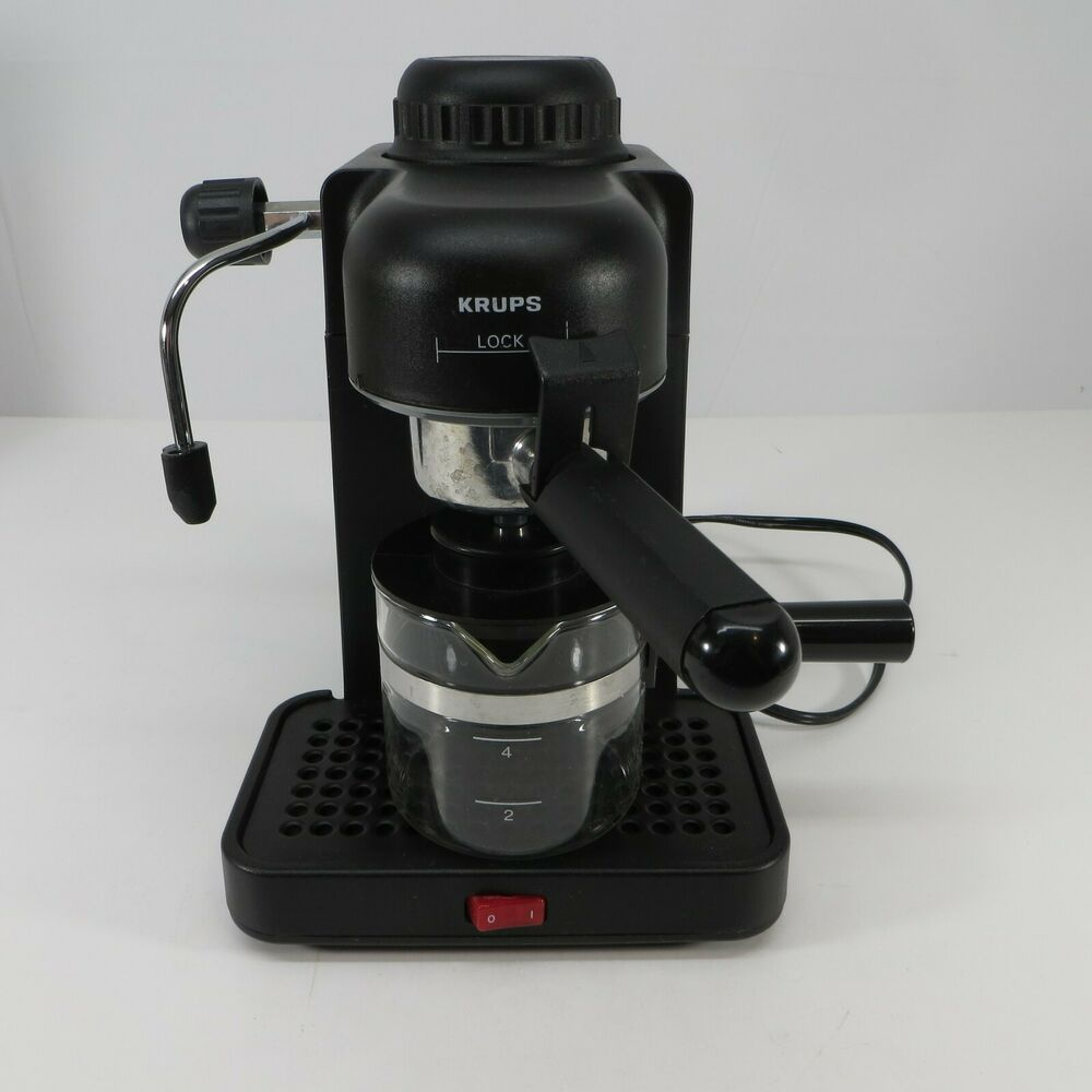Krups Type 963 4 Cup Black Mini Espresso Cappuccino Maker Switzerland Tested Iob Krups In 2020 Krups Espresso Cappuccino Maker