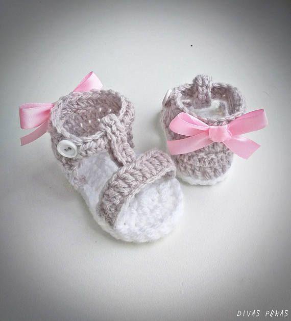 Crochet sandalias de bebé zapatos de bebé del ganchillo | Zapatitos ...