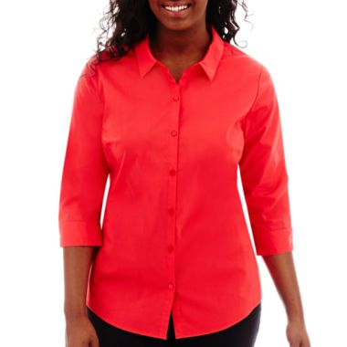 Worthington® 3/4-Sleeve Button-Front Shirt - Plus  found at @JCPenney
