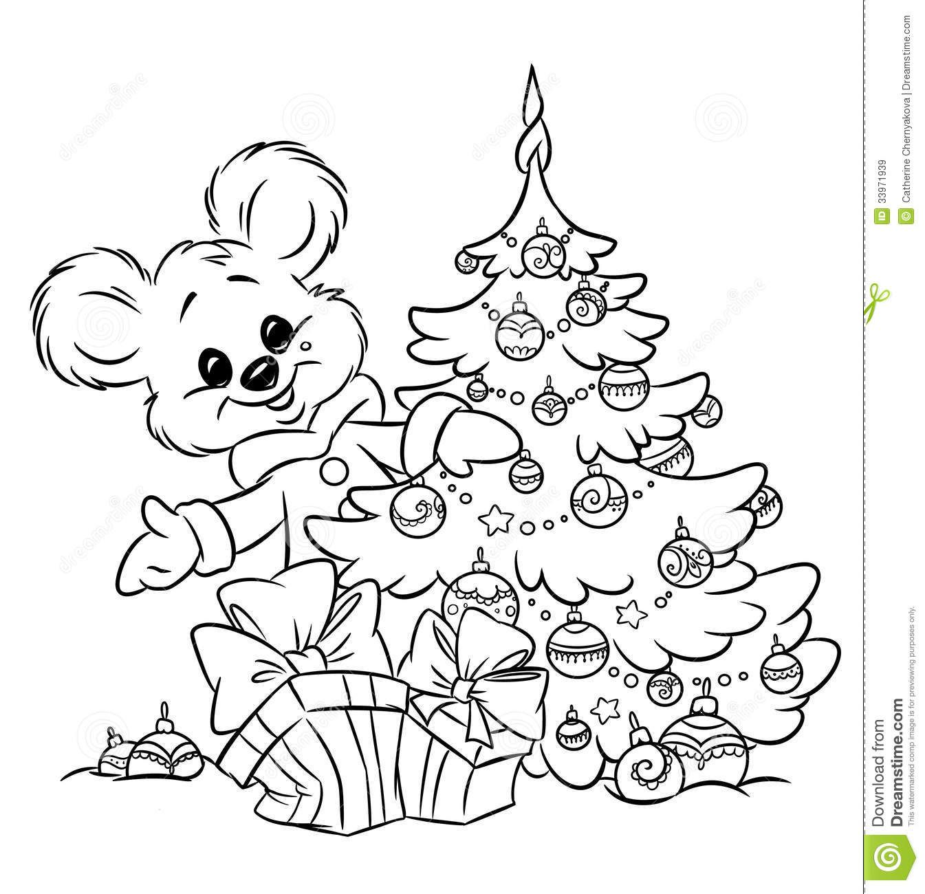 Christmas Ornament Coloring Pages | Christmas Teddy-bear Tree ...