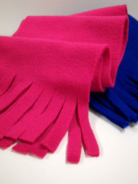 Two Fleece Scarves - Bright Fleece Scarves - by Stitchknit. $16.00, via Etsy.