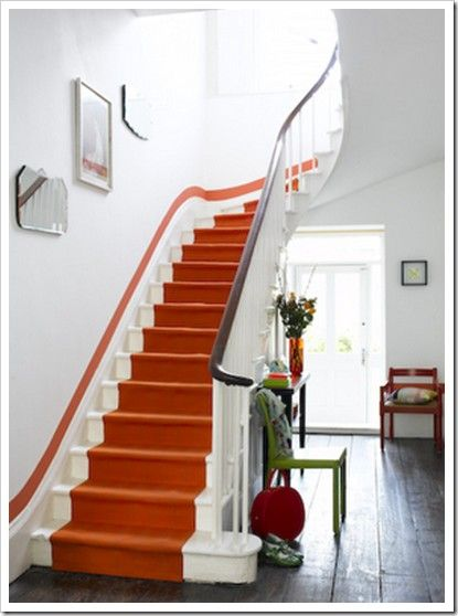 Best Hermes Orange Staircase Orange Rooms Striped Stair 400 x 300