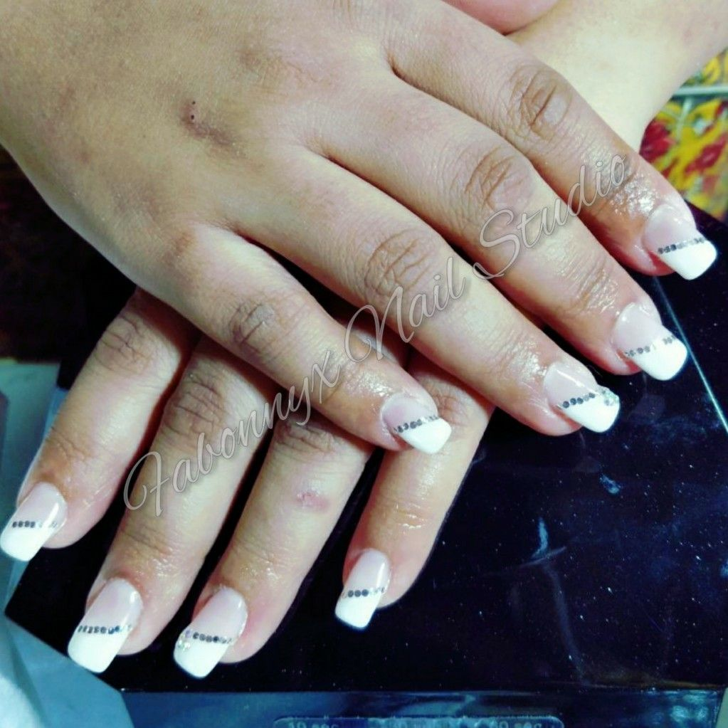 Slant French Nails with Mylars sequencing over gel nail extensions ...