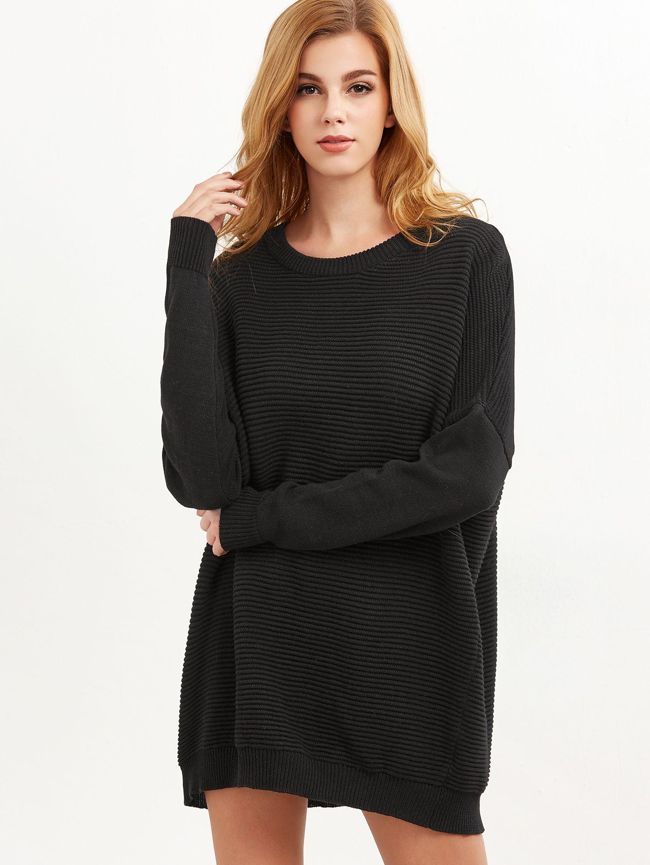Black Ribbed Knit Drop Shoulder Oversized Sweater — 0.00 ...