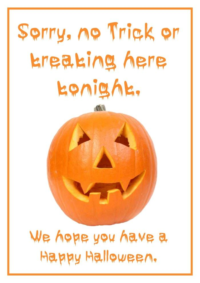 photo regarding Trick or Treat Signs Printable named No Trick or Dealing with indicator Absolutely free Printable for Halloween