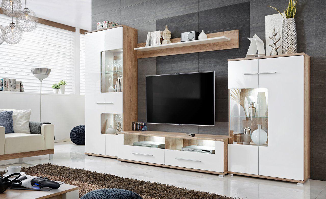 """Anbauwand Wohnzimmer Schrankwand M""""belset Wohnwand, TV Lowboard, Esszimmer, Schrankwand Salvador ..."""