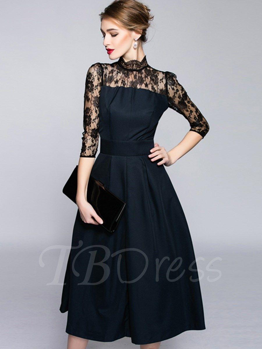 Black midcalf threequarter sleeve womenslacedress apparels