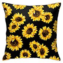 SHEWPQIA Yellow Sunflower Decorative Throw Pillow Covers 18 X 18 Inch Double Side Design Cushion Case for Car Sofa Theme Brithday Party Bedroom Decor Kids Girls Gift