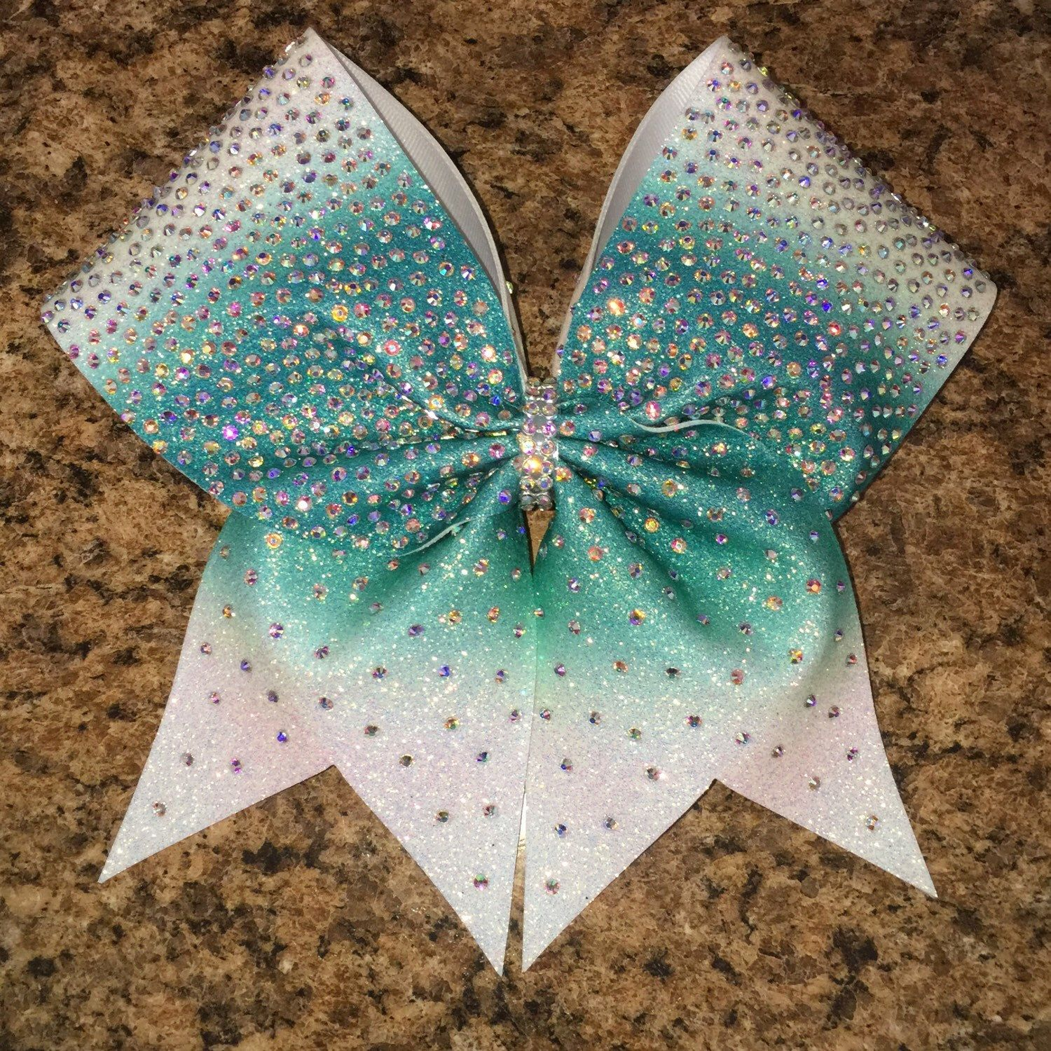 cheer bow, rhinestone bow, ombre bow, teal bow ...