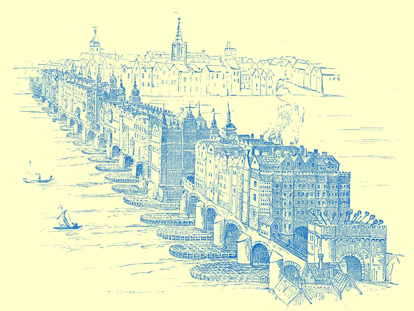 An engraving of the old london bridge with many multi storied an engraving of the old london bridge with many multi storied buildings crowded all along malvernweather Choice Image