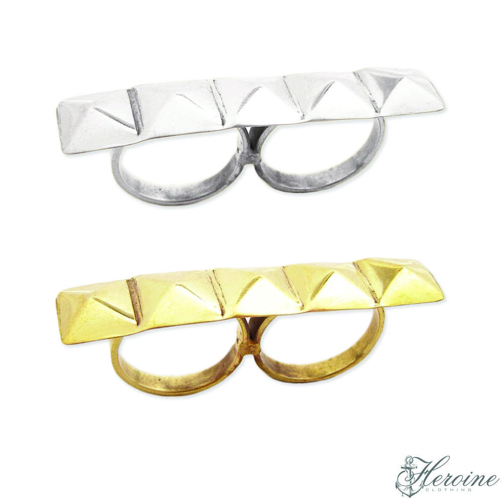 Image of Pyramid Stud Double Finger Ring Silver/Gold